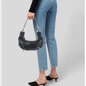 Chloe Black Leather Horn Baguette Shoulder Bag